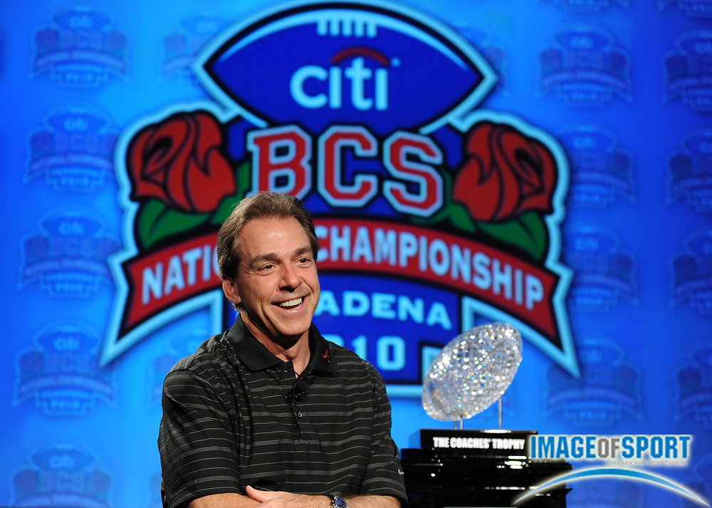 Jan 2, 2010; Anaheim, CA, USA; Alabama Crimson Tide coach Nick Saban at the press conference for the 2010 BCS National Championship game at the ESPN Zone at Downtown Disney.