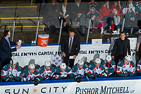 KELOWNA, BC - JANUARY 26:  Kelowna Rockets' assistant coach Kris Mallette, head coach Adam Foote and assistant coach Adam Brown stand on the bench against the Vancouver Giants at Prospera Place on January 26, 2019 in Kelowna, Canada. (Photo by Marissa Baecker/Getty Images)