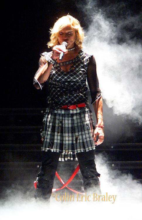 Smoke fills the air as Madonna rises from beneath the stage during the opening of her third concert at the National Car Rental Center in Sunrise, Florida. The pop music legend added two shows to her south Floida stop, playing to sold out crowds in each of her three performances.