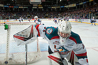 KELOWNA, CANADA - FEBRUARY 22: Brodan Salmond #31 of the Kelowna Rockets clears the puck from behind the net during second period against the Edmonton Oil Kings on February 22, 2017 at Prospera Place in Kelowna, British Columbia, Canada.  (Photo by Marissa Baecker/Shoot the Breeze)  *** Local Caption ***