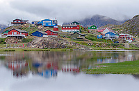 Colorful buildings of Sisimiut, Greenland are wooden houses traditionally sent from Scandinavia as timber kits and colors were practical indicating the function of the building.