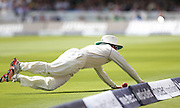 New Zealand Matt Henry try to stop a four during the first day of the Investec 1st Test  match between England and New Zealand at Lord's Cricket Ground, St John's Wood, United Kingdom on 21 May 2015. Photo by Ellie  Hoad.