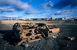 UK ENGLAND CUMBRIA WORKINGTON NOV99 - Two abandoned and burned-out vehicles disturb the view on coastline at Workington, north Cumbria...jre/Photo by Jiri Rezac..© Jiri Rezac 1999..Tel: +44 (0) 7050 110 417.Email: info@jirirezac.com.Web: www.jirirezac.com