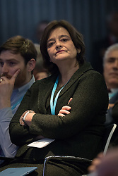 © Licensed to London News Pictures. 17/02/2017. LONDON, UK.  Cherie Blair listens to Tony Blair making a keynote speech about Brexit at an Open Britain event held at Bloomberg in London. In his first major speech since the European Union (EU) referendum, former Prime Minister, Tony Blair has called for Remain supporters to fight to stop Brexit, claiming that voters were misinformed when they voted for Brexit and that Prime Minister, Theresa May's agenda is being dictated by hardline Eurosceptics.  Photo credit: Vickie Flores/LNP