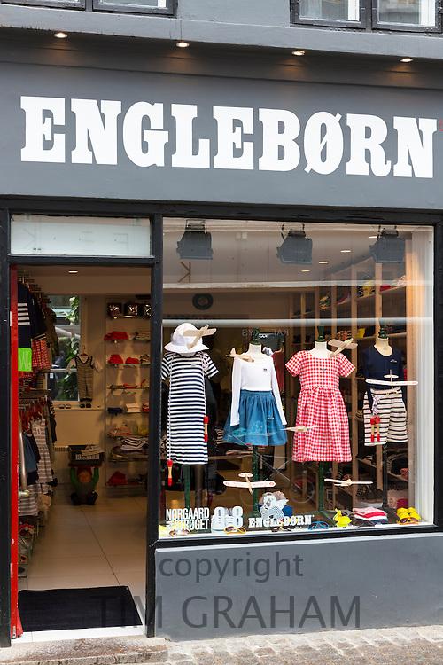 Engleborn childrenswear shop selling stylish Danish design children's clothes in Straedet in Copenhagen, Denmark