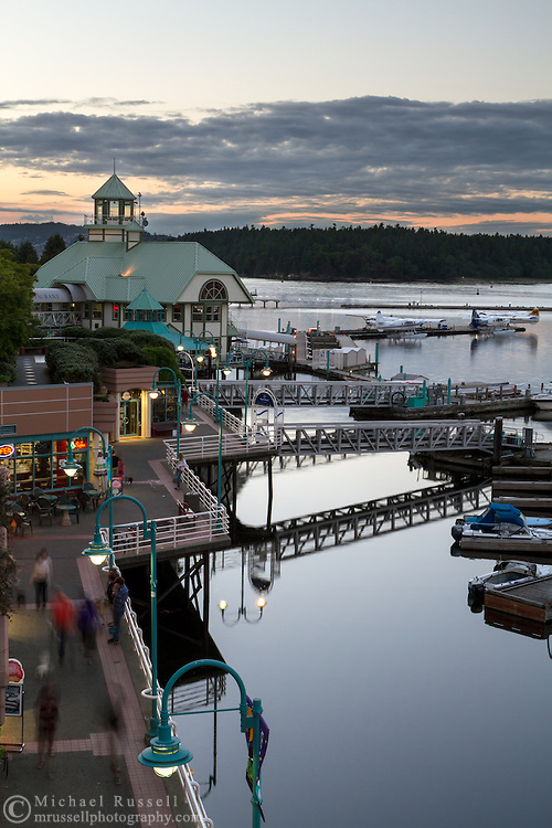 The boardwalk, boat docks, and Nanaimo Water Harbour Airport in Nanaimo, British Columbia, Canada