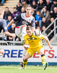 Falkirk's David McCracken and Queen of the South's Bob McHugh.<br /> Falkirk 3 v 1 Queen of the South, Scottish Premiership play-off quarter-final second leg played today at the Falkirk Stadium.