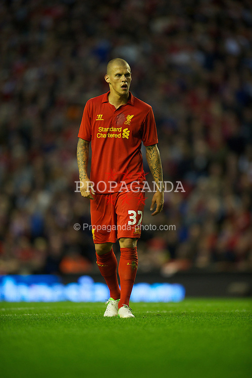LIVERPOOL, ENGLAND - Thursday, August 30, 2012: Liverpool's Martin Skrtel in action against Heart of Midlothian during the UEFA Europa League Play-Off Round 2nd Leg match at Anfield. (Pic by David Rawcliffe/Propaganda)