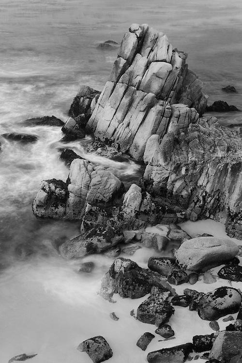 Rocky Shoreline - Pacific Grove, CA - Black & White