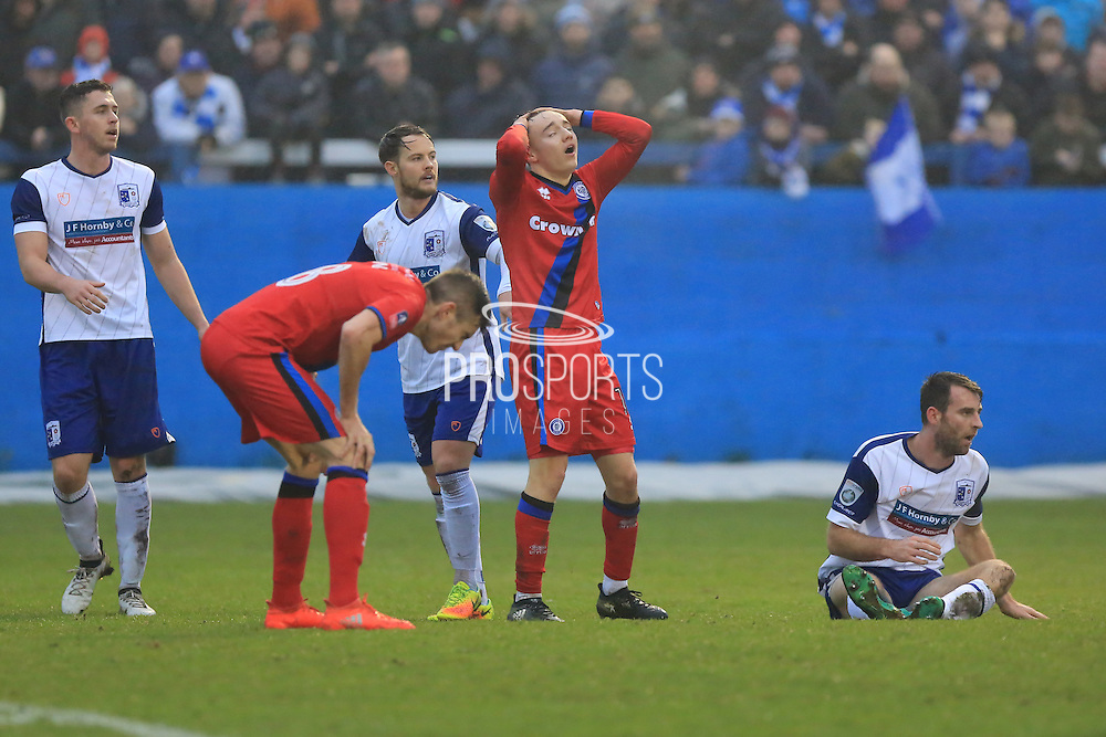 Ollie Rathbone rues a missed chance during the The FA Cup 3rd round match between Barrow and Rochdale at Holker Street, Barrow, United Kingdom on 7 January 2017. Photo by Daniel Youngs.