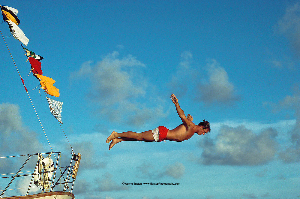 Diving off sailboat in Grenada, West Indies - Nautica Brand Campaign