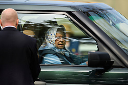 © London News Pictures. 11/05/2016. Windsor, UK. HRH QUEEN ELIZABETH II driving a Range Rover on The first day of the 2016 Royal Windsor Horse Show, held in the grounds of Windsor Castle in Berkshire, England. The opening day of the event was cancelled due to heavy rain and waterlogged grounds. This years event is part of HRH Queen Elizabeth II's 90th birthday celebrations.  Photo credit: Ben Cawthra/LNP