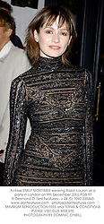 Actress EMILY MORTIMER wearing Ralph Lauren at a party in London on 9th December 2002.PGB 97