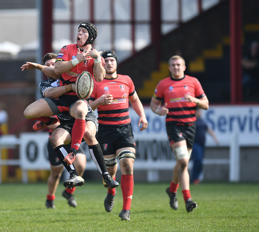 Aberavon v Pontypridd<br /> Photographer Mike Jones/Replay Images<br /> <br /> Aberavon RFC v Pontypridd RFC <br /> Principality Premiership<br /> Saturday 14th April 2018<br /> Talbot Athletic Ground<br /> <br /> World Copyright © Replay Images . All rights reserved. info@replayimages.co.uk - http://replayimages.co.uk