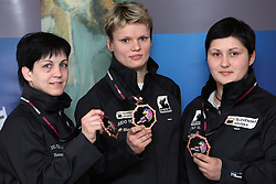 Petra Nareks, Urska Zolnir and Lucija Polavder at the arrival  from European Championship in Lisbon (11th april 2008 - 13th april 2008),  on April 14, 2008 in Ljubljana, Slovenia. (Photo by Vid Ponikvar / Sportal Images)/ Sportida)