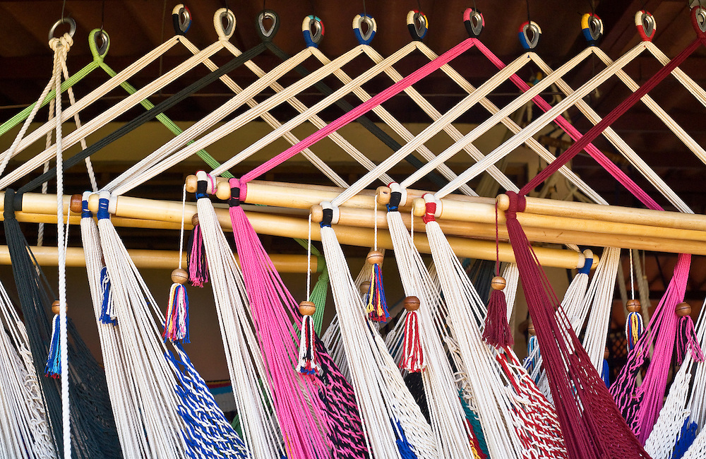 Colorful Hammocks for sale in the market in Masaya  Masaya is close to Granada in Nicaragua. Masaya is famous for its art markets where it sells crafts from the surrounding region. It is also a major regional transport hub.