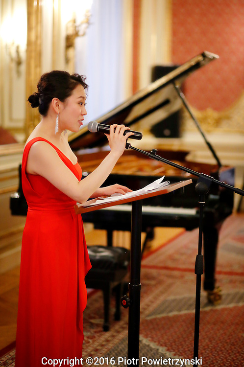 Yoonie Han Piano Recital<br /> <br /> Wednesday, 25th of May 2016, 7.00 pm<br /> <br /> Consulate General<br /> of the Republic of Poland in New York<br /> invites you to celebrate<br /> the Polish presidency to the Council<br /> of the Baltic Sea States in 2015-2016<br /> <br /> Program<br /> <br /> Poland<br /> <br /> C.W. Gluck (1714-1787) / Ignaz Friedman (1912-2006)<br /> Melodie from Orfeo ed Euridice<br /> <br /> Frederic Chopin (1810-1849)<br /> Mazurka Op. 63, No. 3 in C sharp minor<br /> <br /> Lithuania<br /> <br /> Isaac Albeniz (1860-1909) / Leopold Godowsky (1870-1938)<br /> Tango<br /> <br /> Carmille Saint-Saens (1835-1921) / Leopold Godowsky<br /> Swan from Carnival of Animals<br /> <br /> Finland<br /> <br /> Jean Sibelius (1865-1957)<br /> Trees from five piano pieces, Op. 75 (1914)<br /> N&auml;r r&ouml;nnen blommar (When the Rowan Blossoms)<br /> Den ensamma furan (The Solitary Pine)<br /> Granen (The Spruce)<br /> <br /> Estonia<br /> <br /> Arvo Part (b. 1935)<br /> Fur Anna Maria (2006)<br /> <br /> Germany<br /> <br /> J.S. Bach (1685-1750) / Ferruccio Busoni (1866-1924)<br /> Chaconne from Partita No. 2 for Solo Violin