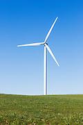 wind turbine from a wind farm in a rural paddock in the countryside near rural Glen Thompson, Victoria, Australia