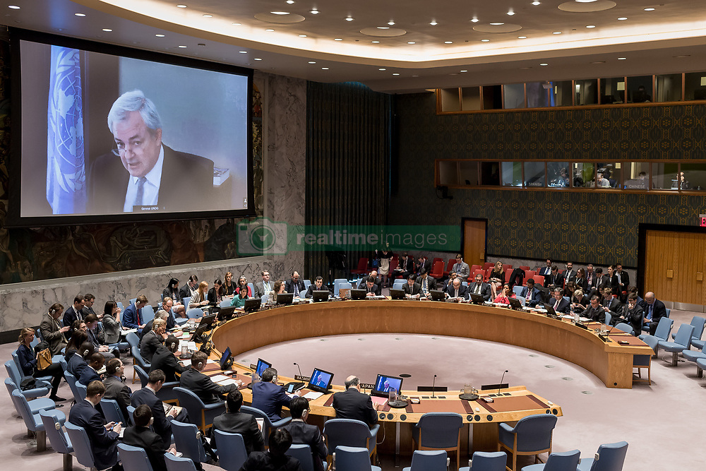 April 27, 2017 - New York, NY, United States - Under-Secretary-General for Humanitarian Affairs Stephen O'Brien is seen on a video monitor (left) in the Security Council chamber. The United Nations Security Council, presided over by US Ambassador to the UN Nikki Haley, held a meeting regarding the ongoing humanitarian crisis in Syria. At the meeting, Council members received a briefing from Under-Secretary-General for Humanitarian Affairs Stephen O'Brien (currently at UN in Geneva) via video-link. (Credit Image: © Albin Lohr-Jones/Pacific Press via ZUMA Wire)
