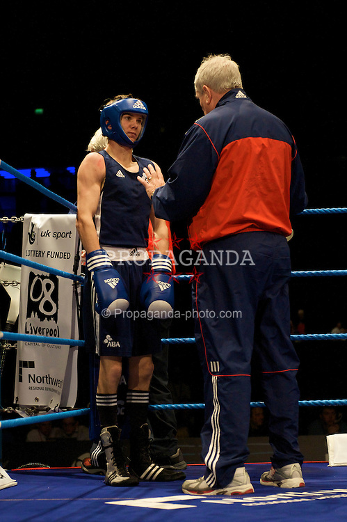 LIVERPOOL, ENGLAND - Saturday, November 15, 2008: Luke Campbell (ENG) (blue) in action during his Bantamweight 54kg gold medal winning fight against Detelin Dalakliev (BUL) during the 38th European Elite Boxing Championships at the Liverpool Arena. (Photo by David Rawcliffe/Propaganda)