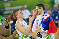 Bostjan Nachbar #10 of Slovenia and Edo Muric #8 of Slovenia after basketball match between national team of Slovenia and Ukraine in 5th Place game at Day 18 of Eurobasket 2013 on September 21, 2013 in SRC Stozice, Ljubljana, Slovenia. (Photo By Matic Klansek Velej / Sportida.com)