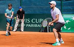 Aljaz Bedene and Tom Kocevar Desman of Slovenia playing doubles during Davis Cup 2018 Europe/Africa zone Group II between Slovenia and Turkey, on April 8, 2018 in Portoroz / Portorose, Slovenia. Photo by Vid Ponikvar / Sportida