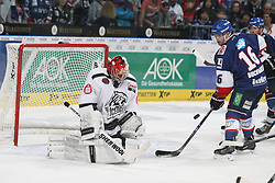 03.10.2014, SAP Arena, Mannheim, GER, DEL, Adler Mannheim vs Thomas Sabo Ice Tigers, 7. Runde, im Bild jochen Reimer (Thomas Sabo Ice Tigers) rettet gegen Martin Buchwieser (Adler Mannheim), Aktion / Action // during germans DEL Icehockey League 7th round match between Adler Mannheim and Thomas Sabo Ice Tigers at the SAP Arena in Mannheim, Germany on 2014/10/03. EXPA Pictures © 2014, PhotoCredit: EXPA/ Eibner-Pressefoto/ Neis<br /> <br /> *****ATTENTION - OUT of GER*****