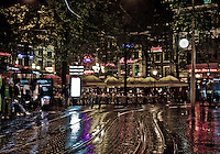 Leidesplein at night after a rain shower.