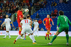 Sam Vokes of Wales (Burnley) heads his shot wide during the first half of the match - Photo mandatory by-line: Rogan Thomson/JMP - Tel: Mobile: 07966 386802 10/09/2013 - SPORT - FOOTBALL - Cardiff City Stadium - Cardiff -  Wales V Serbia- World Cup Qualifier.