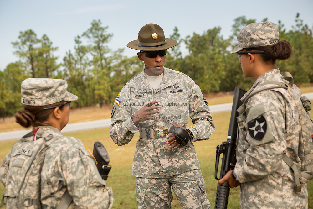 Women Drill Sergeant candidates listen to their instructor at the US Army Drill Instructors School Fort Jackson Fort Jackson in Columbia, SC. While 14 percent of the Army is women soldiers there is a shortage of female Drill Sergeants.