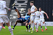 Wycombe Wanderers forward Josh Parker (27) tries an overhead shot at goal during the EFL Sky Bet League 1 match between Milton Keynes Dons and Wycombe Wanderers at stadium:mk, Milton Keynes, England on 1 February 2020.