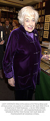 LADY VERONICA MacLEAN widow of Sir Fitzroy MacLean of Dunconnel, at a party in London on 4th April 2002.OYU 4