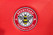 Brentford crest at the EFL Sky Bet Championship match between Brentford and Derby County at Griffin Park, London, England on 26 September 2017. Photo by Sebastian Frej.