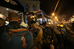 © London News Pictures. 04/09/2015. Bicske, Hungary. Migrants heading to the austrian border, board buses near board buses near Bicske in Hungary.  Picture by Paul Hackett/LNP