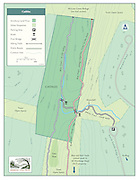 Vector map illustration of the Cathles property managed by the Simsbury Land Trust, of Simsbury, Connecticut. The maps shows trails and points of interest of the property.