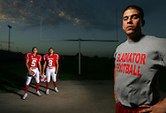 "Photo by Alex Jones..Roma Gladiators: #5 Angel Garcia, corner receiver, #8 Hector ""Scrappy"" Ochoa, safety, Coach Max Habecker"