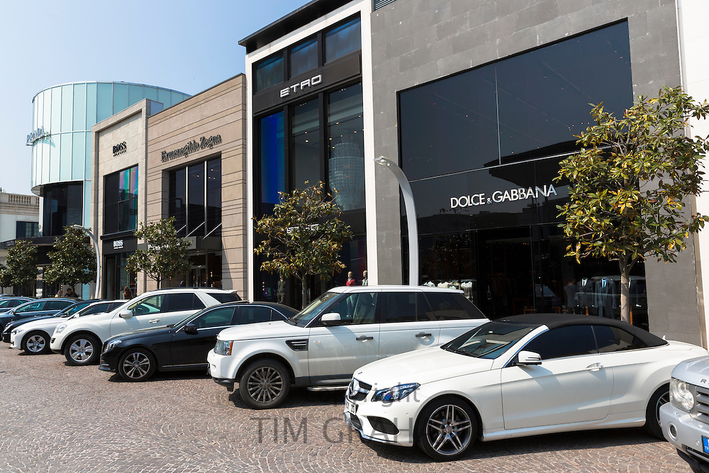 Mercedes Range Rover BMW Dolce and Gabbana, Etro at Istinye Park shopping mall near Levent  business center, Istanbul, Turkey