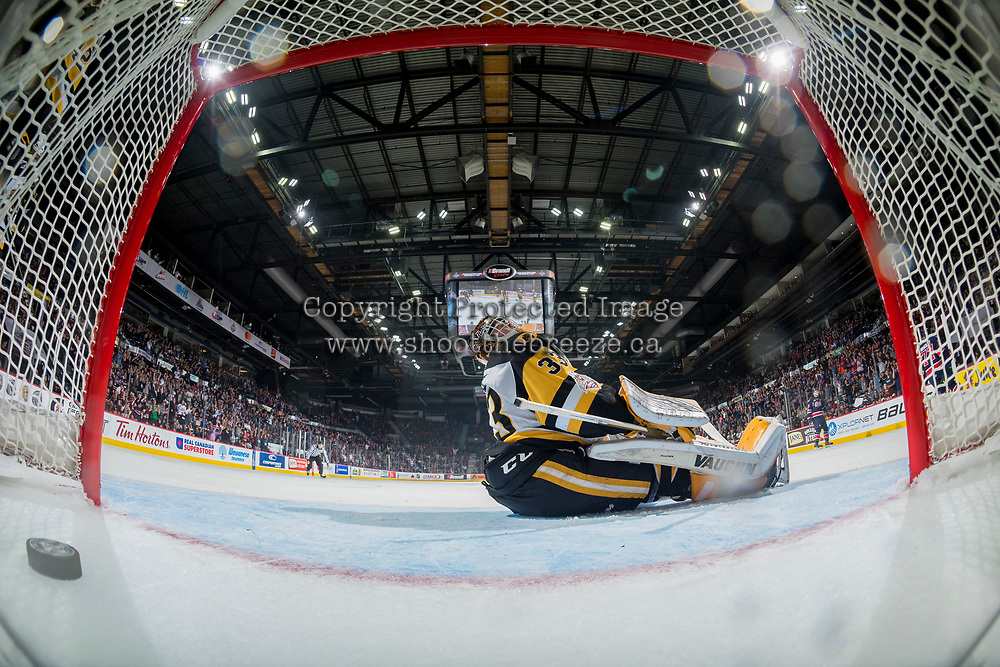 REGINA, SK - MAY 25: Kaden Fulcher #33 of Hamilton Bulldogs misses a save during the national anthem against the Regina Pats at the Brandt Centre on May 25, 2018 in Regina, Canada. (Photo by Marissa Baecker/CHL Images)
