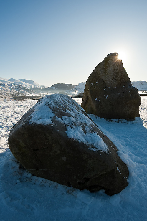 Castlerigg stone circle,  view of Helvellyn, winter snow, blue sky, St Johns in the Vale, Borrowdale, Lake District, Cumbria, UK