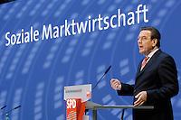 """14 JUN 2005, BERLIN/GERMANY:<br /> Gerhard Schroeder, SPD, Bundeskanzler, haelt eine Rede, Kongress der SPD Bundestagsfraktion zum Thema """"Soziale Marktwirtschaft"""", Willy-Brandt-Haus<br /> IMAGE: 20050613-03-054<br /> KEYWORDS: Gerhard Schröder"""