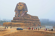 CHUZHOU, CHINA - MARCH 14: (CHINA OUT) <br /> <br /> Replica Of The Great Sphinx Becomes Tourist Attraction In Anhui<br /> <br /> Tourists visit the replica of the Great Sphinx on March 14, 2015 in  Chuzhou, Anhui province of China. The replica of the Great Sphinx has became a tourist attraction in Chuzhou on Saturday.<br /> ©Exclusivepix Media