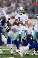 06 November 2011: Quarterback (9) Tony Romo of the Dallas Cowboys drops back to pass against the Seattle Seahawks during the first half of the Cowboys 23-13 victory over the Seahawks at Cowboy Stadium in Arlington, TX.