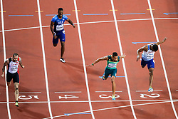 London, August 10 2017 . Ramil Guliyev, Turkey, wins in the men's 200m final on day seven of the IAAF London 2017 world Championships at the London Stadium, with Wayde van Niekerk, South Africa, in second and Jereem Richards, Trinidad and Tobago in third. © Paul Davey.
