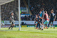 Queens Park Rangers goalkeeper Matt Ingram can only look on as a header from Sam Vokes of Burnley (hidden) heads in to the net for the first goal during the Sky Bet Championship match at Turf Moor, Burnley<br /> Picture by Matt Wilkinson/Focus Images Ltd 07814 960751<br /> 02/05/2016