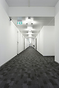 Interior, modern building, long corridor