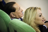 Jan 14th 2015 Rome,  leader of Forza Italia party attends to meeting organized by Forza Silvio clubs. In the picture Silvio Berlusconi with his partner Francesca Pascale