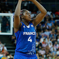 09 August 2012: France Isabelle Yacoubou looks to pass the ball during 81-64 Team France victory over Team Russia, during the women's basketball semi-finals, at the 02 Arena, in London, Great Britain.