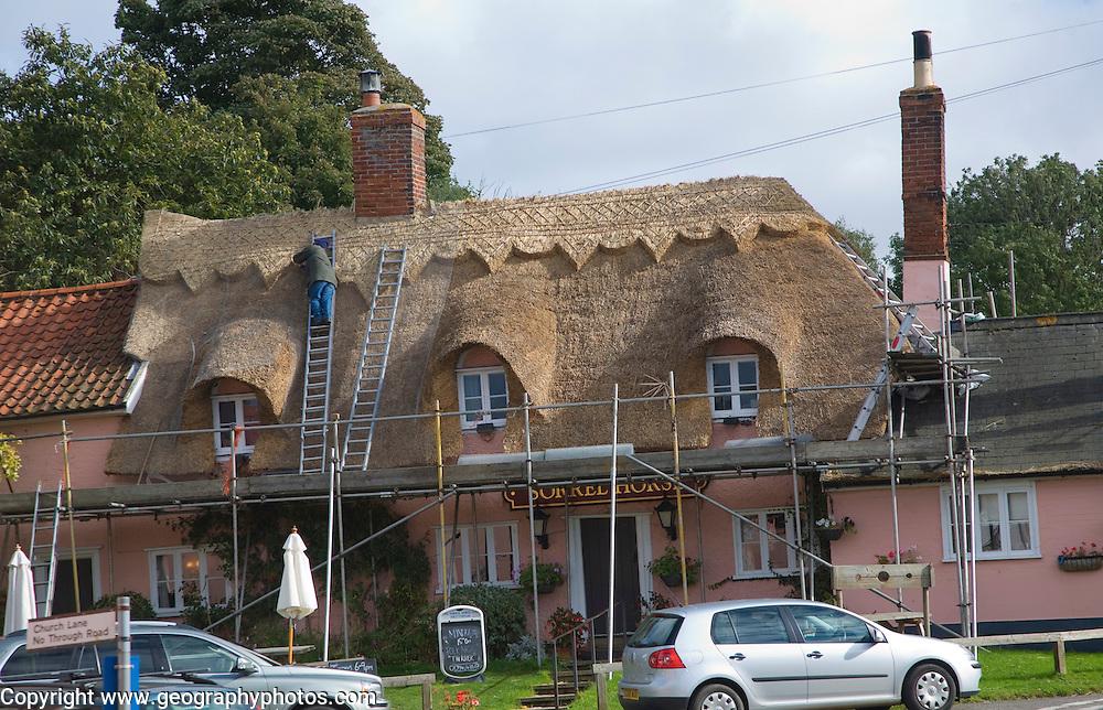 Thatcher working on roof of Sorrel Horse pub, Shottisham, Suffolk, England