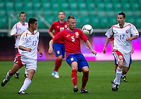 SO Serbia (red) compete with SO Romania (white) at final during the 2013 Special Olympics European Unified Football Tournament in Warsaw, Poland.<br /> <br /> Poland, Warsaw, June 08, 2012<br /> <br /> Picture also available in RAW (NEF) or TIFF format on special request.<br /> <br /> For editorial use only. Any commercial or promotional use requires permission.<br /> <br /> <br /> Mandatory credit:<br /> Photo by &copy; Adam Nurkiewicz / Mediasport
