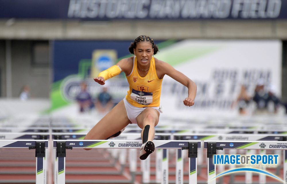 Jun 8, 2018; Eugene, OR, USA; Lyndsey Lopes of Southern California runs 13.48 in the heptathon 100m hurdles during the NCAA Track and Field championships at Hayward Field.